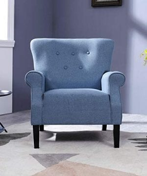 Top Space Accent Chair Sofa Mid Century Upholstered Roy Arm Single Sofa Modern Comfy Furniture For Living RoomBedroomClubOffice 2 PCsBlue 0 1 300x360