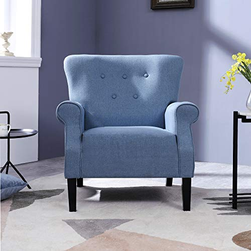 Top Space Accent Chair Sofa Mid Century Upholstered Roy Arm Single Sofa Modern Comfy Furniture For Living RoomBedroomClubOffice 2 PCsBlue 0 1