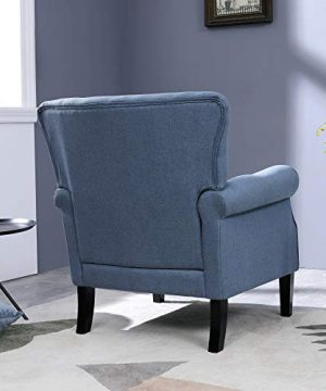 Top Space Accent Chair Sofa Mid Century Upholstered Roy Arm Single Sofa Modern Comfy Furniture For Living RoomBedroomClubOffice 2 PCsBlue 0 2 300x360