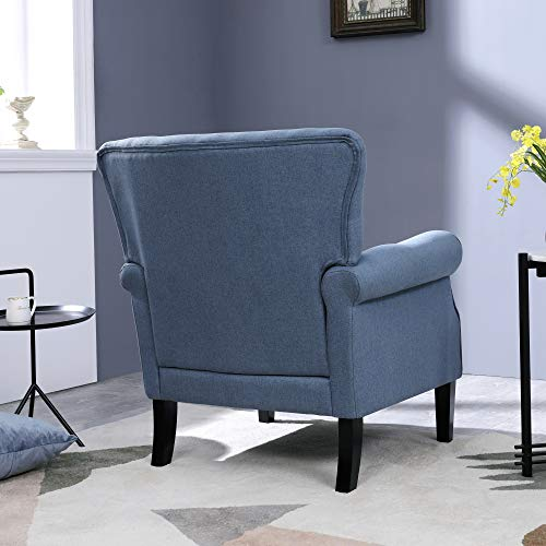 Top Space Accent Chair Sofa Mid Century Upholstered Roy Arm Single Sofa Modern Comfy Furniture For Living RoomBedroomClubOffice 2 PCsBlue 0 2