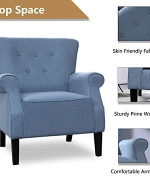 Top Space Accent Chair Sofa Mid Century Upholstered Roy Arm Single Sofa Modern Comfy Furniture For Living RoomBedroomClubOffice 2 PCsBlue 0 3 300x360