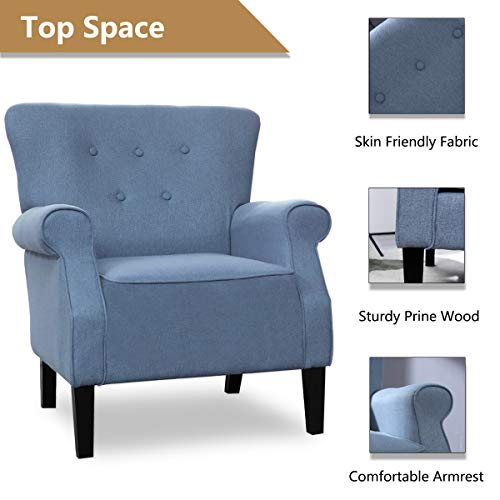 Top Space Accent Chair Sofa Mid Century Upholstered Roy Arm Single Sofa Modern Comfy Furniture For Living RoomBedroomClubOffice 2 PCsBlue 0 3