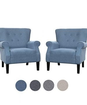 Top Space Accent Chair Sofa Mid Century Upholstered Roy Arm Single Sofa Modern Comfy Furniture For Living RoomBedroomClubOffice 2 PCsBlue 0 300x360
