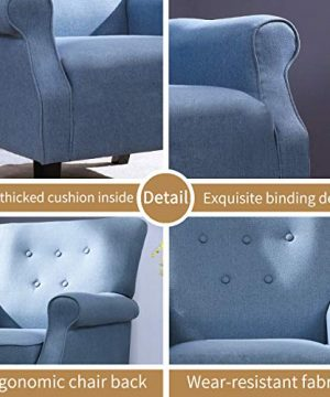 Top Space Accent Chair Sofa Mid Century Upholstered Roy Arm Single Sofa Modern Comfy Furniture For Living RoomBedroomClubOffice 2 PCsBlue 0 4 300x360
