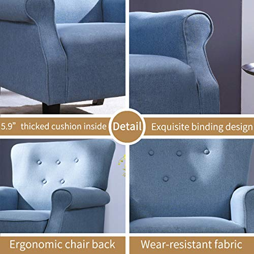 Top Space Accent Chair Sofa Mid Century Upholstered Roy Arm Single Sofa Modern Comfy Furniture For Living RoomBedroomClubOffice 2 PCsBlue 0 4
