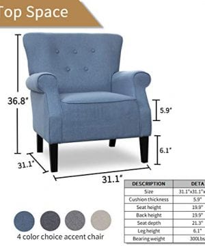 Top Space Accent Chair Sofa Mid Century Upholstered Roy Arm Single Sofa Modern Comfy Furniture For Living RoomBedroomClubOffice 2 PCsBlue 0 5 300x360
