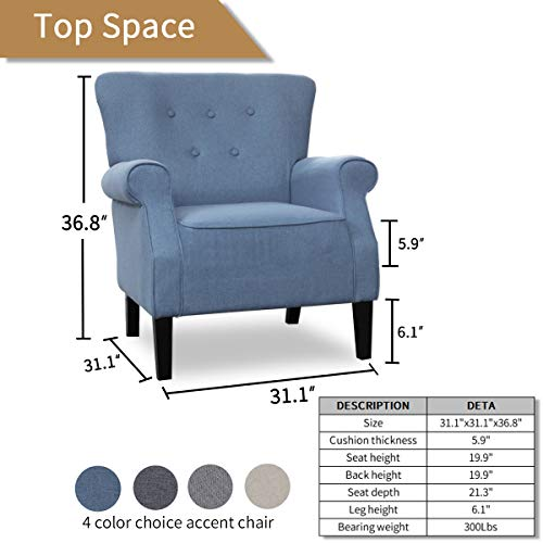 Top Space Accent Chair Sofa Mid Century Upholstered Roy Arm Single Sofa Modern Comfy Furniture For Living RoomBedroomClubOffice 2 PCsBlue 0 5