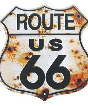 Treasure Gurus Rusty Highway Route 66 Metal Sign US Made Vintage Rustic Garage Man Cave Wall Decor 0 300x360