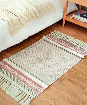 Tribal Rug 2x3 Cotton Woven Moroccan Hand Knotted Tassels Rug For Kitchen Living Room Bedroom Pink 0 300x360