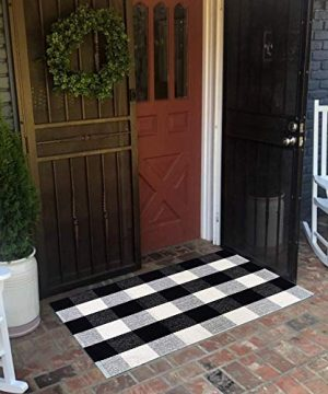 USTIDE 2x3 Cotton Buffalo Plaid Rug Black And White Plaid Checkered Outdoor Porch Rugs Hand Woven Braided Rug Farmhouse Rug Gingham Rug 0 1 300x360
