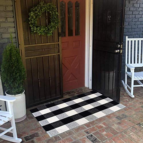 USTIDE 2x3 Cotton Buffalo Plaid Rug Black And White Plaid Checkered Outdoor Porch Rugs Hand Woven Braided Rug Farmhouse Rug Gingham Rug 0 1