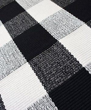 USTIDE 2x3 Cotton Buffalo Plaid Rug Black And White Plaid Checkered Outdoor Porch Rugs Hand Woven Braided Rug Farmhouse Rug Gingham Rug 0 2 300x360
