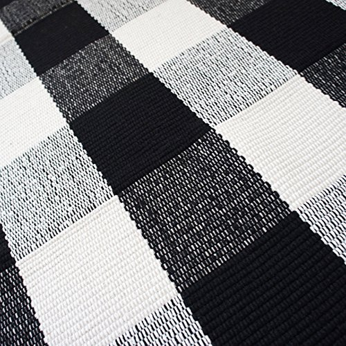 USTIDE 2x3 Cotton Buffalo Plaid Rug Black And White Plaid Checkered Outdoor Porch Rugs Hand Woven Braided Rug Farmhouse Rug Gingham Rug 0 2