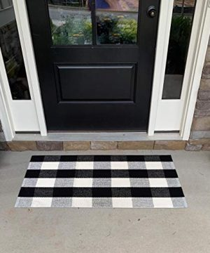 USTIDE 2x3 Cotton Buffalo Plaid Rug Black And White Plaid Checkered Outdoor Porch Rugs Hand Woven Braided Rug Farmhouse Rug Gingham Rug 0 300x360
