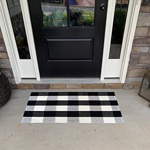 USTIDE 2x3 Cotton Buffalo Plaid Rug Black And White Plaid Checkered Outdoor Porch Rugs Hand Woven Braided Rug Farmhouse Rug Gingham Rug 0