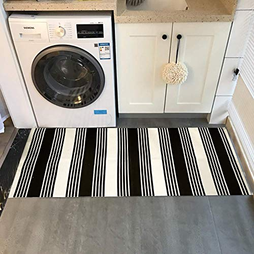 USTIDE 2x3 Cotton Printed Area Rug BlackWhite Striped Stripe Doormat Perfect For Front Door Porch Outdoor Rug 0 0