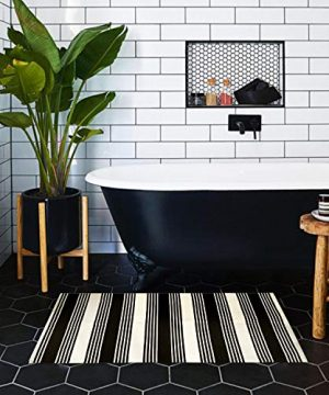 USTIDE 2x3 Cotton Printed Area Rug BlackWhite Striped Stripe Doormat Perfect For Front Door Porch Outdoor Rug 0 1 300x360