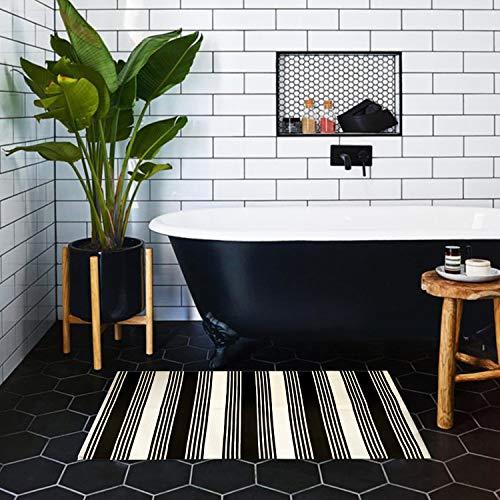 USTIDE 2x3 Cotton Printed Area Rug BlackWhite Striped Stripe Doormat Perfect For Front Door Porch Outdoor Rug 0 1