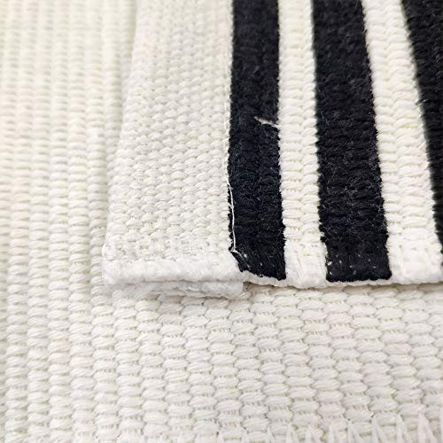 USTIDE 2x3 Cotton Printed Area Rug BlackWhite Striped Stripe Doormat Perfect For Front Door Porch Outdoor Rug 0 5