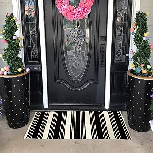 USTIDE 2x3 Cotton Printed Area Rug BlackWhite Striped Stripe Doormat Perfect For Front Door Porch Outdoor Rug 0