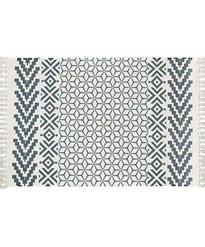 Ukeler Hand Woven Cotton Printed Kilim Rug 2x3 Decorative Nordic Accent Throw Rug With Tassel Washable Braided Doormat Welcome Mat For Front Door 0 300x360