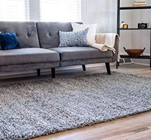 Unique Loom Solo Solid Shag Collection Modern Plush Cloud Gray Area Rug 2 2 X 3 0 0 0 300x278