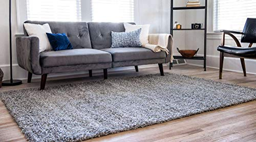 Unique Loom Solo Solid Shag Collection Modern Plush Cloud Gray Area Rug 2 2 X 3 0 0 0