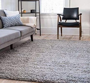 Unique Loom Solo Solid Shag Collection Modern Plush Cloud Gray Area Rug 2 2 X 3 0 0 1 300x278