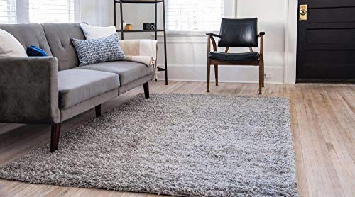 Unique Loom Solo Solid Shag Collection Modern Plush Cloud Gray Area Rug 2 2 X 3 0 0 1