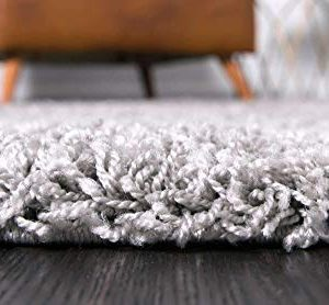 Unique Loom Solo Solid Shag Collection Modern Plush Cloud Gray Area Rug 2 2 X 3 0 0 2 300x278