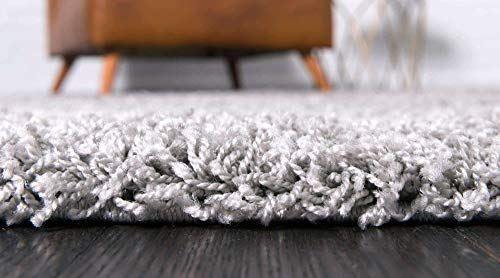 Unique Loom Solo Solid Shag Collection Modern Plush Cloud Gray Area Rug 2 2 X 3 0 0 2