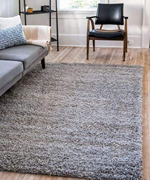 Unique Loom Solo Solid Shag Collection Modern Plush Cloud Gray Area Rug 2 2 X 3 0 0 300x360