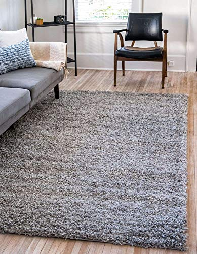 Unique Loom Solo Solid Shag Collection Modern Plush Cloud Gray Area Rug 2 2 X 3 0 0