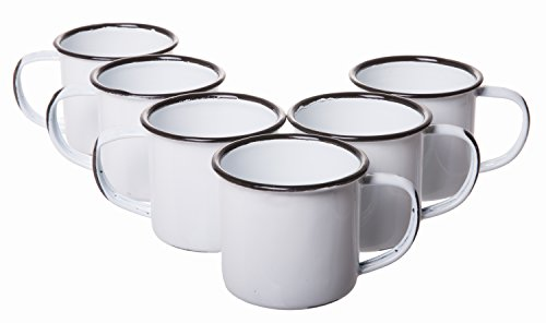 White Rustic Distressed Enamelware Mini Mugs Coffee Shot Cups For Picnics And Camping Small Set Of 6 225 Inches High X 25 Inches 5 Oz 0