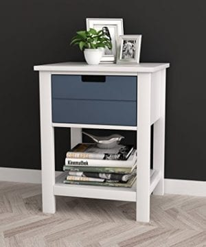 WhiteGrey Finish Two Tone Modern Mid Century Style Nightstand Side Table With Drawer And Shelf 0 300x360