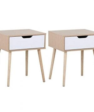 Yaheetech Mid Century Bedside Table Nightstand For Bedroom Sofa Side End Tables With Storage Drawer Wood Legs 19L X 16W X 225H Inch Set Of 2 0 300x360