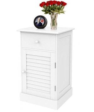 Yaheetech Nightstand End Table With One Drawer And Slatted Door Wooden Accent Table Sofa Bed Side Storage Cabinet White 0 300x360