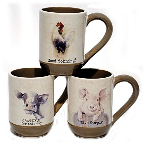Youngs Ceramic Farmhouse Coffee Mugs Pig Cow Rooster Set Of 3 0