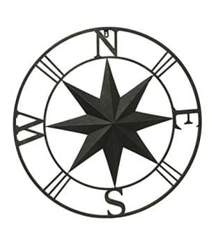 Zeckos Distressed Brown Metal IndoorOutdoor Compass Rose Wall Hanging 0 300x360