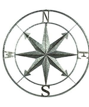 Zeckos Distressed Metal IndoorOutdoor Compass Rose Wall Hanging 28 Inch 0 300x360