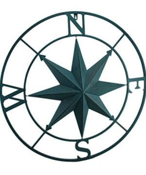 Zeckos Metal Compass Rose Distressed Finish Wall Hanging 0 300x360