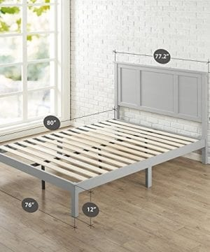 Zinus Andrew Wood Country Style Platform Bed With Headboard No Box Spring Needed Wood Slat Support King 0 300x360