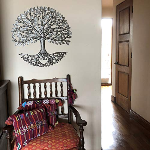 Its Cactus Metal Art Haiti Haitian Family Tree Of Life Decorative Wall Sculpture Home Decor Wall Hangings Family Tree Roots Flowers 24 In Round Love Tree 0 3