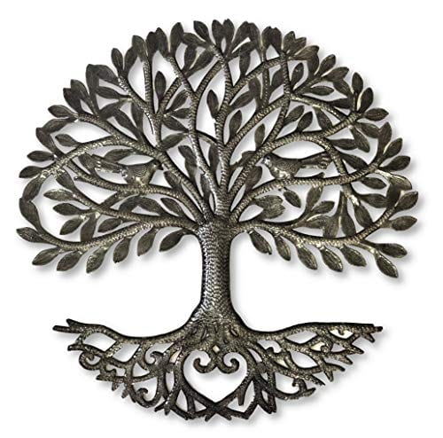 Its Cactus Metal Art Haiti Haitian Family Tree Of Life Decorative Wall Sculpture Home Decor Wall Hangings Family Tree Roots Flowers 24 In Round Love Tree 0