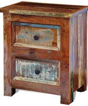 VidaXL Reclaimed Solid Wood Bedside Cabinet Nightstand With 2 Drawers Vintage Rustic 0 300x360