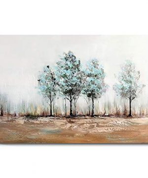 1 KINGO Hand Painted Large Abstract Landscape Canvas Wall Art Teal Landscape Forest Aspen Painting Home Decor For Living Room Bedroom Bathroom Green 0 300x360