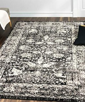 A2Z Rug Vintage Traditional Design Modern Santorini 6076 Collection Area Rugs Black 4 X 6 0 300x360