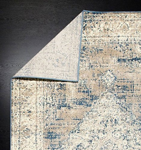 A2Z Rug Vintage Traditional Design Santorini Collection Area Rugs Blue 4 X 6 0 5