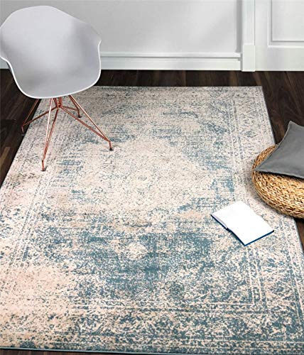A2Z Rug Vintage Traditional Design Santorini Collection Area Rugs Blue 4 X 6 0