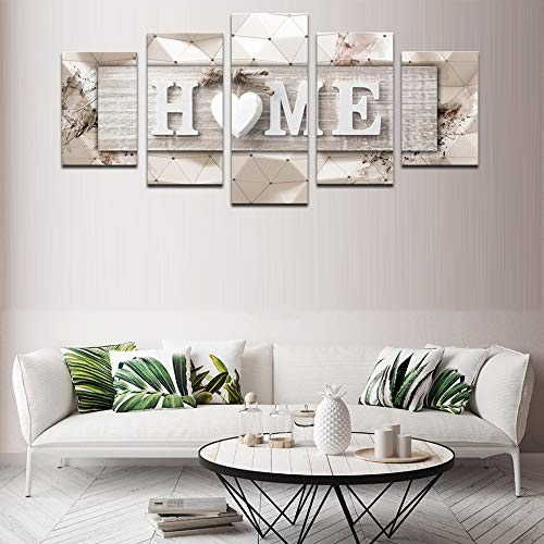 AWLXPHY Decor Home Sweet Home Canvas Wall Art Print Painting 5 Panels Framed For Living Room Decoration Modern Still Life Love Stretched Artwork Giclee Wedding Gift Yellow W60 X H30 0 1